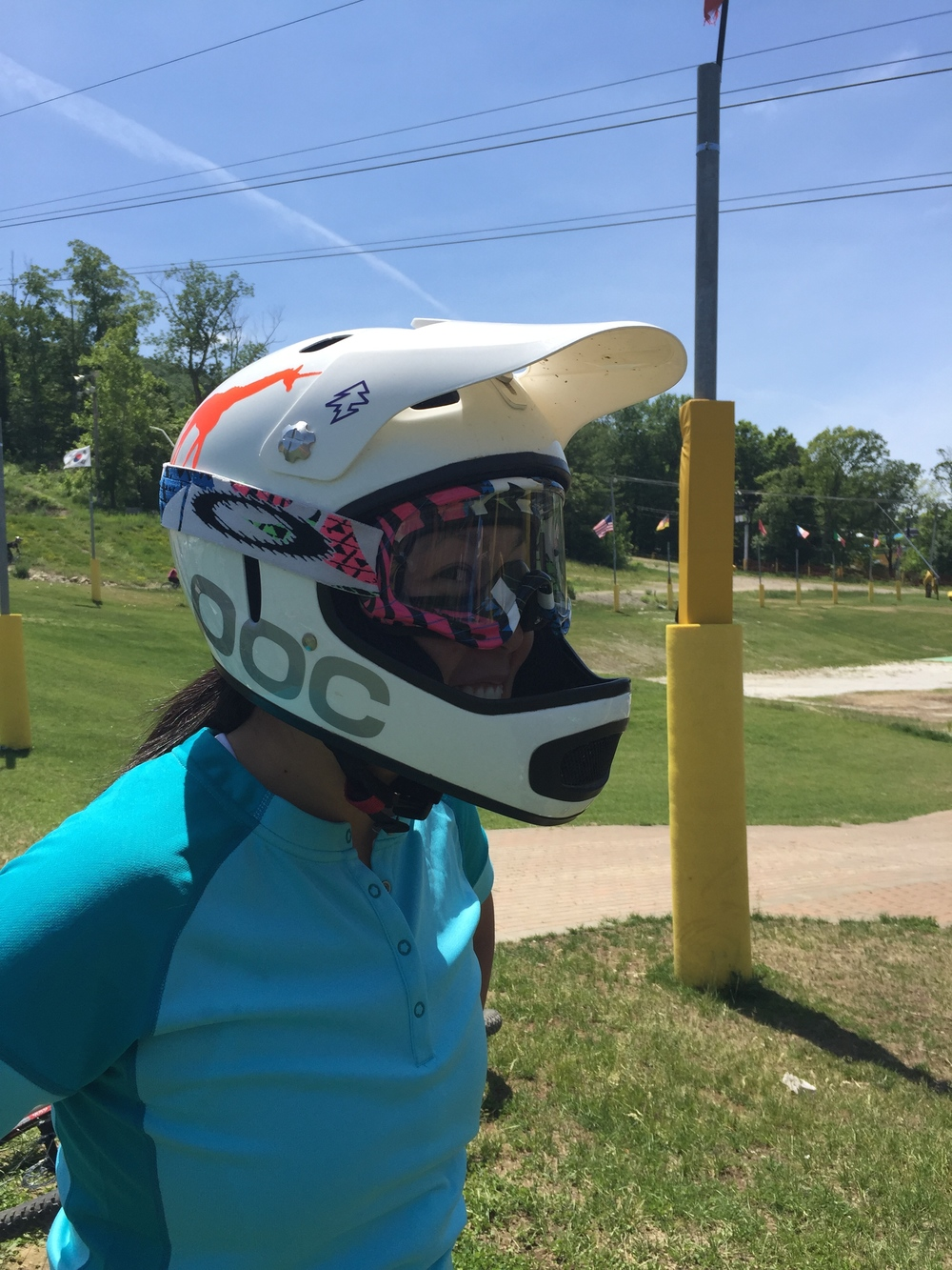 FYI roadies, youre probably gonna new some new gear! Lucia models a downhill helmet.