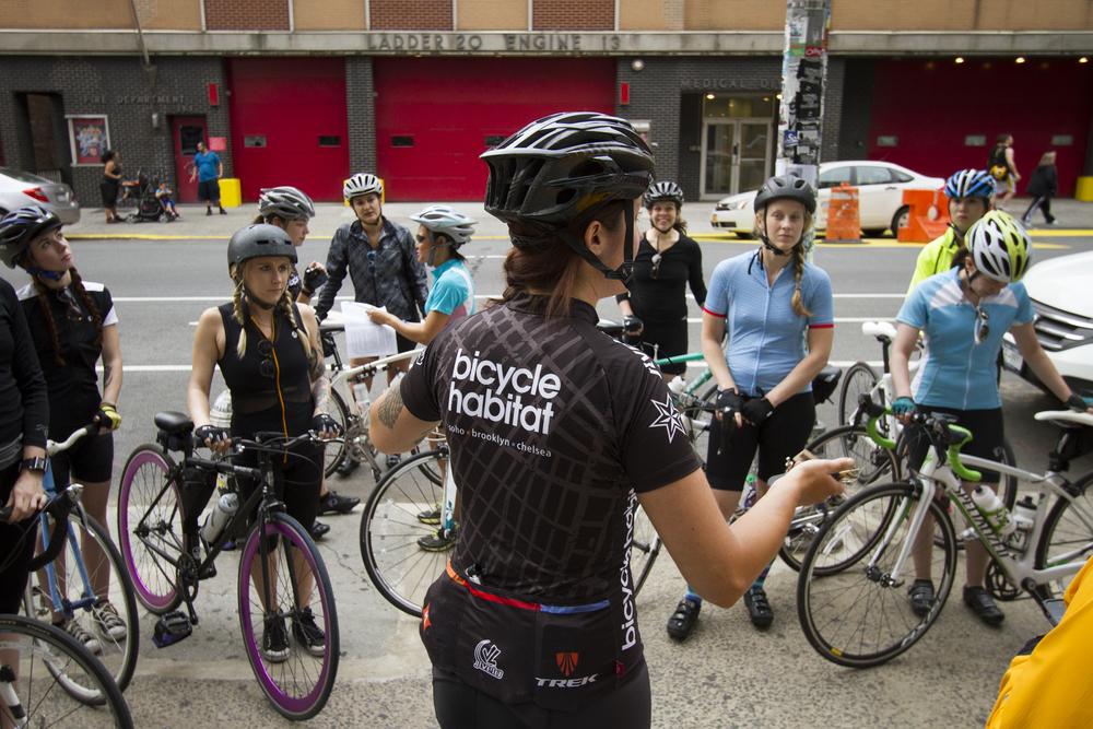 Emily Samtag from Bicycle Habitat going over some ride basics