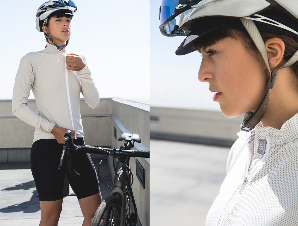Tayler is wearing the S1-J Jacket in sandstone and S1-A Jersey in White