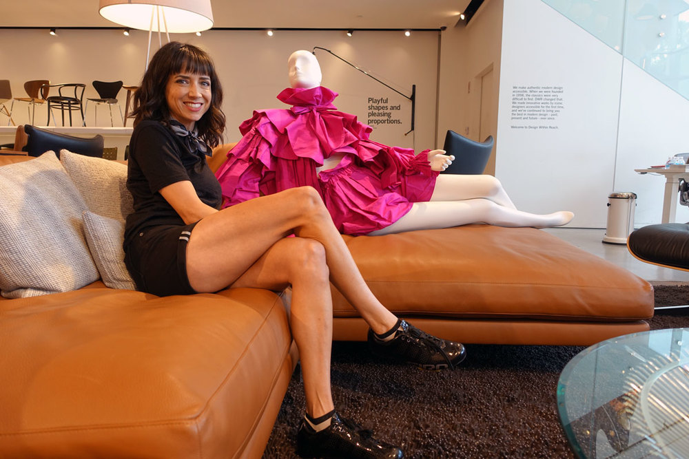 Crystal Haggard  pre-ride lounging at Design Within Reach