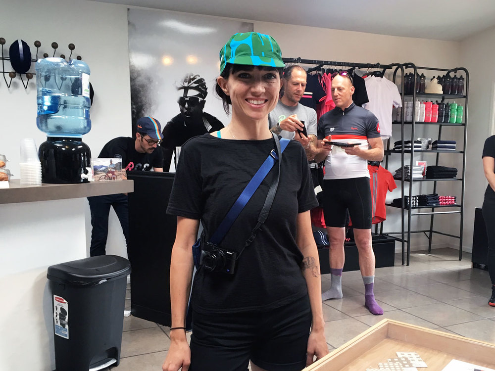 Crystal Haggard at the Rapha pop-up shop in Venice