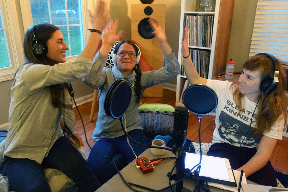 High fives all around! Abby Watson, guest Beth Ann Orton, and Annalisa Fish (L-R)