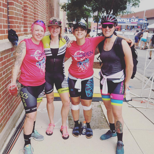 Andrea with Tiana Johnson, Beth Franklin, and Chelsea Matias at Fyxation Crit last July.