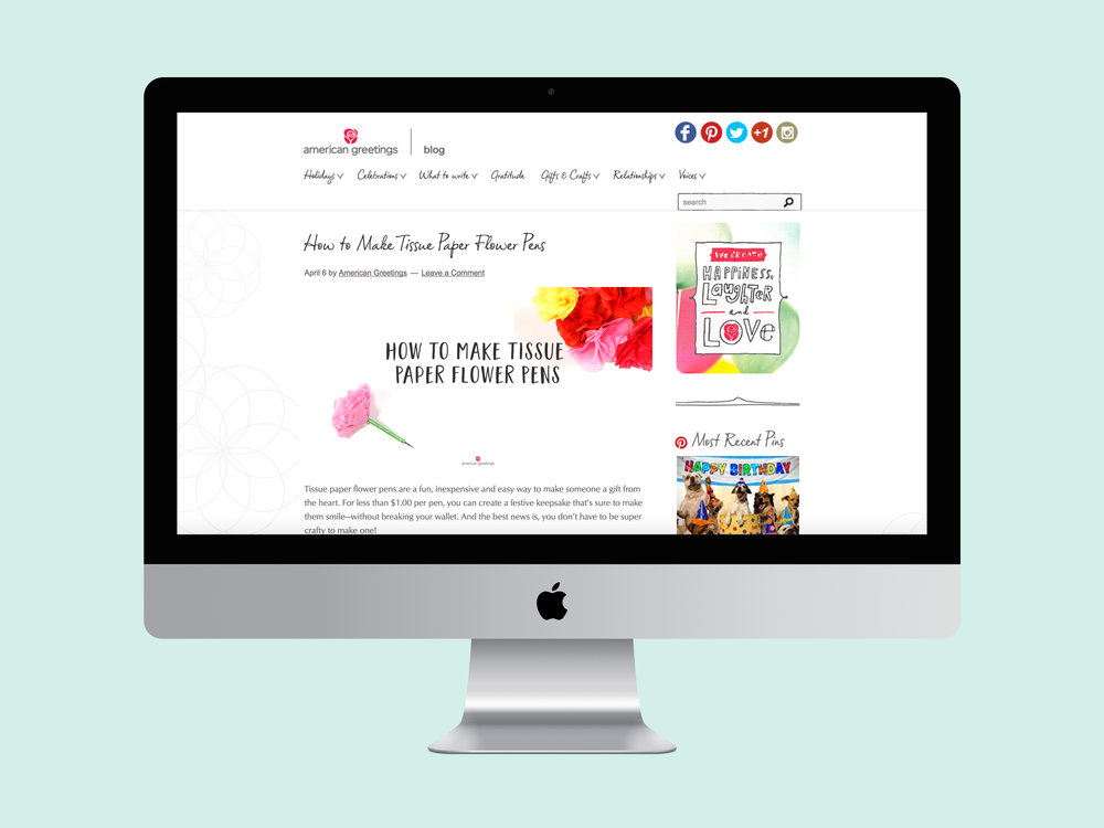 Kara isabella lead designer on the redesign of the american greetings blog updated the blog to better align and connect the brand with their digital audience m4hsunfo