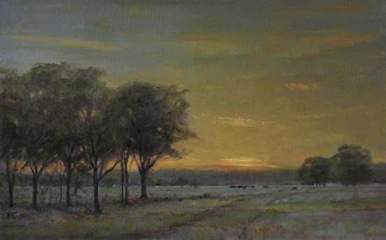 Sunset Pasture. 15 x 24. Oil on linen panel.