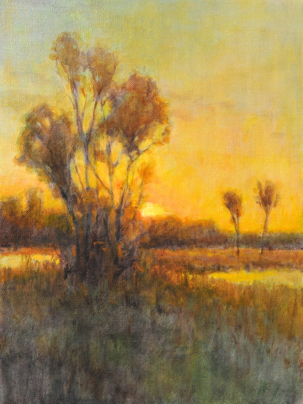 Sunset at Sandy Creek. 9 x 12. Oil on linen panel.