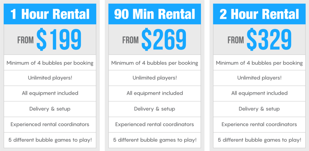Bubble Ball Soccer Maryland Pricing