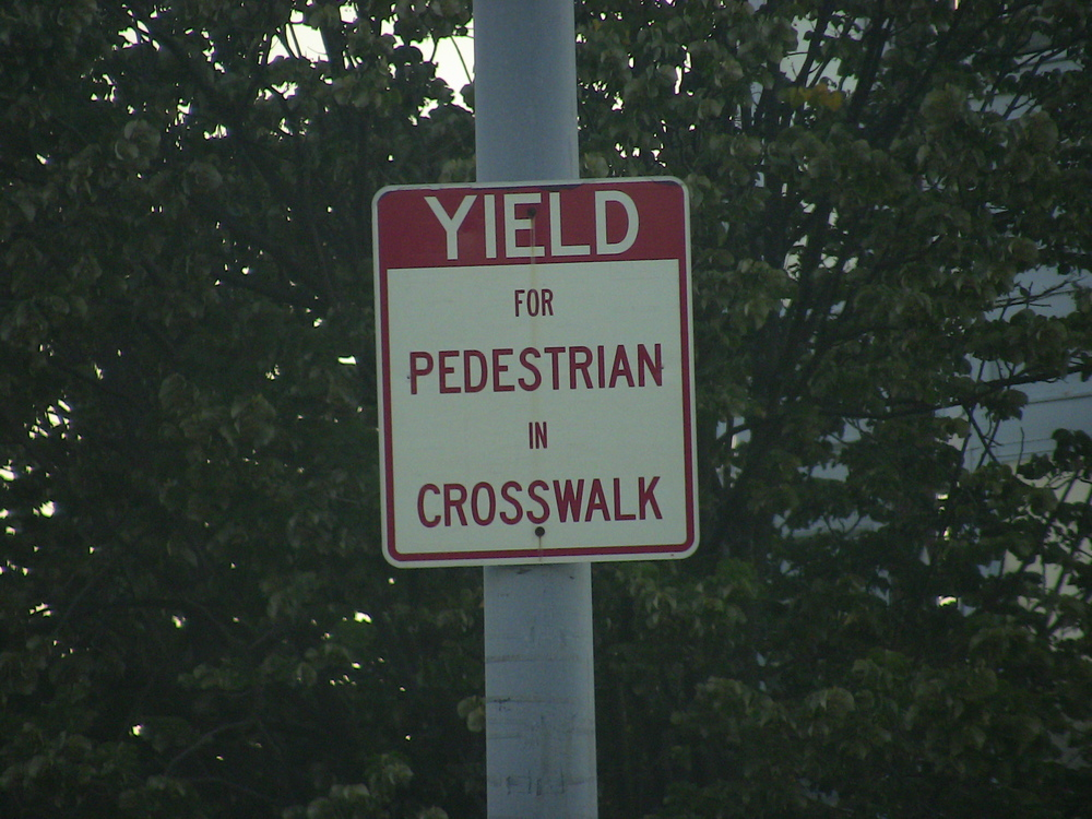 Yield in the crosswalk, sure. Outside of the crosswalk....well, good luck mate.