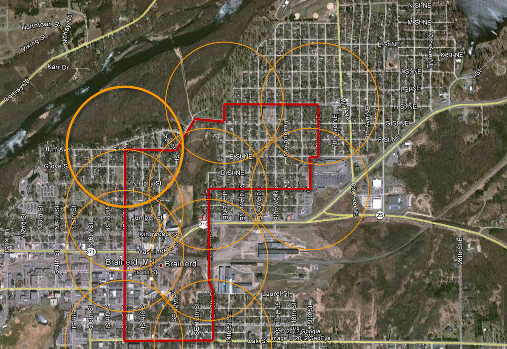 I've sketched out a very rough 3-1/2 mile route that provides service within easy walking distance of the neighborhood we are focusing on. It connects that neighborhood with the downtown, the mall and grocery store, government offices, churches and parks. If we designed a similar system on the south side of town, we could also connect the clinic, many other parks, schools and pretty much the rest of the core neighborhoods.
