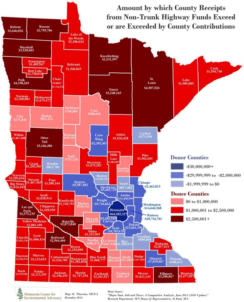 Why would major urban areas -- starved for transportation revenue -- continue to support an auto-dominated funding system that sends their wealth to rural areas? Click map for the entire story from Streets.MN.