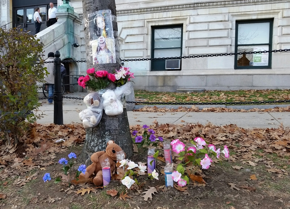 Impromptu memorial for the child killed on State Street in Springfield, MA.