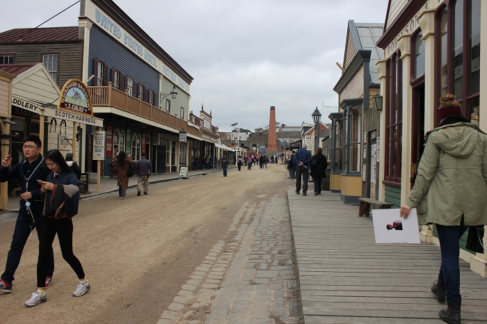 "A look down Sovereign Hill's Main Street. There is even a ""United States Hotel."""