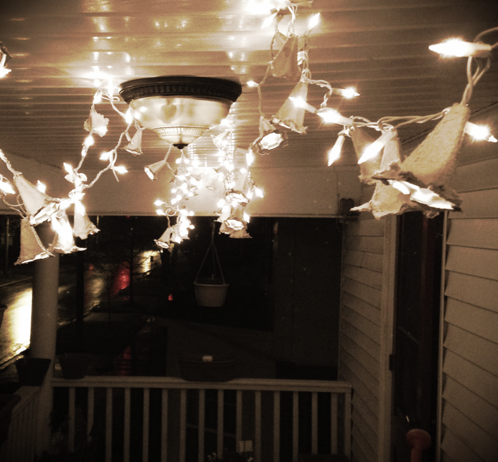Our recycled porch lights.