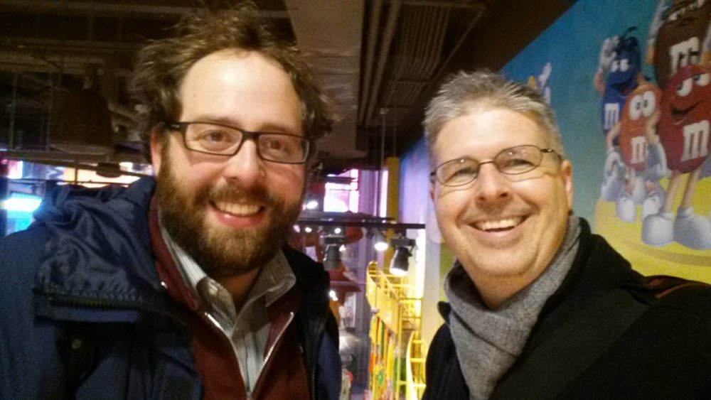 Selfie with John Reuter as we get out of the rain, and seek some sugar, in NYC.