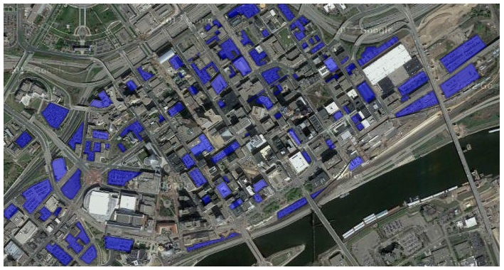 Map of parking in downtown St. Paul (circa 2013)