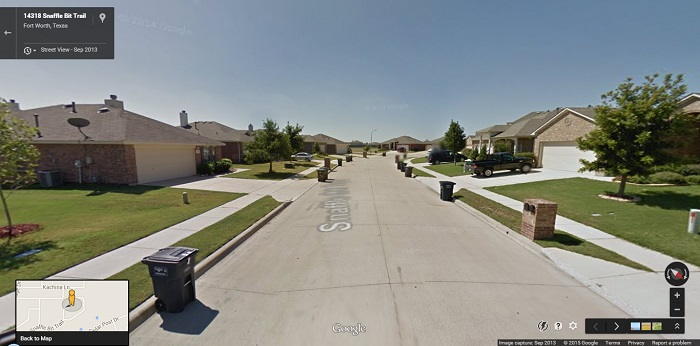 A new residential subdivision in Fort Worth, Texas. With so many restrictive rules, it is hard to imagine this neighbourhood ever evolving and looking any different, so for now we might consider it to be in its final state - a 'completed' street.