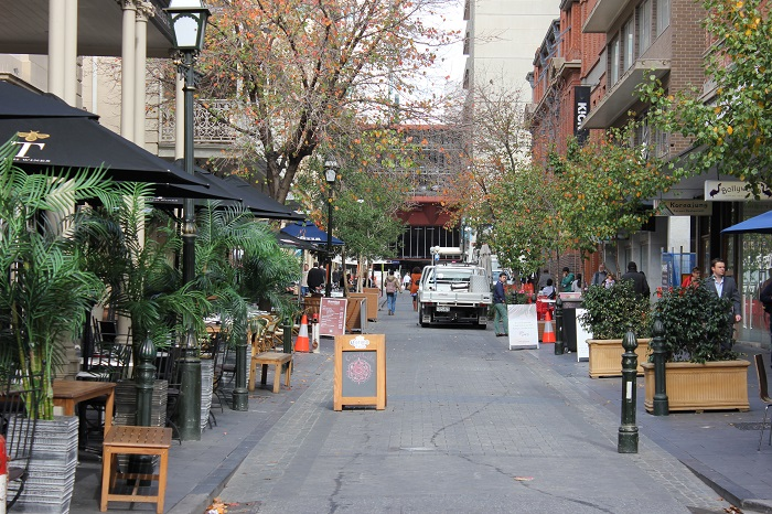 A bustling commercial shared street in Adelaide, South Australia. Drivers of large vehicles may complain that the street does not accommodate for them
