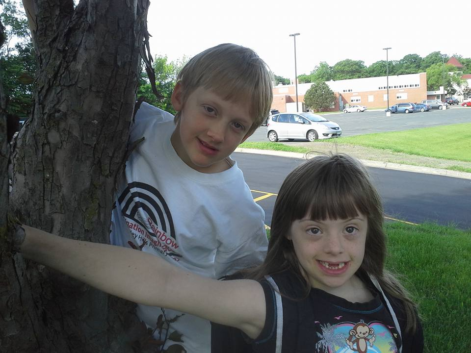 Cecelia and Maeve on their last day of walking to school last spring