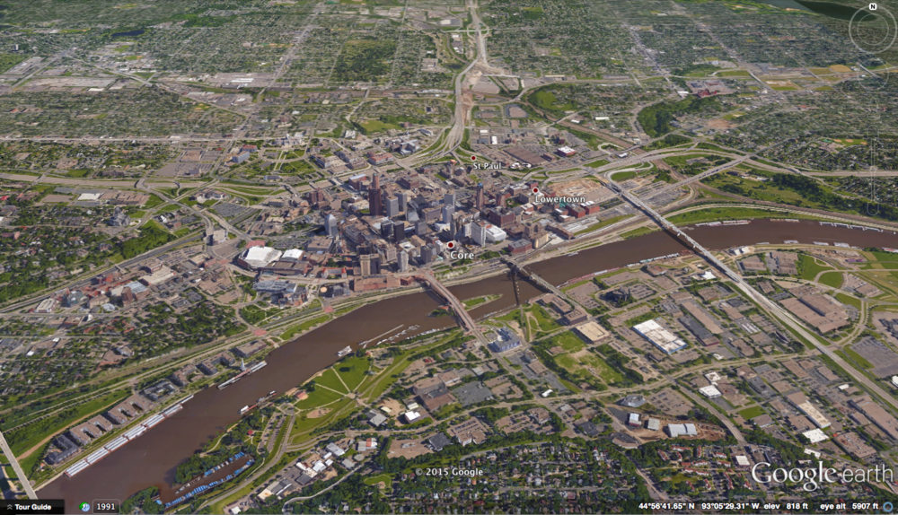 Downtown St. Paul as seen in Google Earth. The Mississippi River flows left to right in the image.