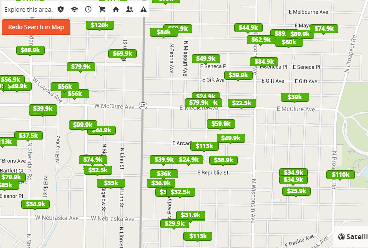 Screenshot from Trulia.com of a Peoria neighborhood.