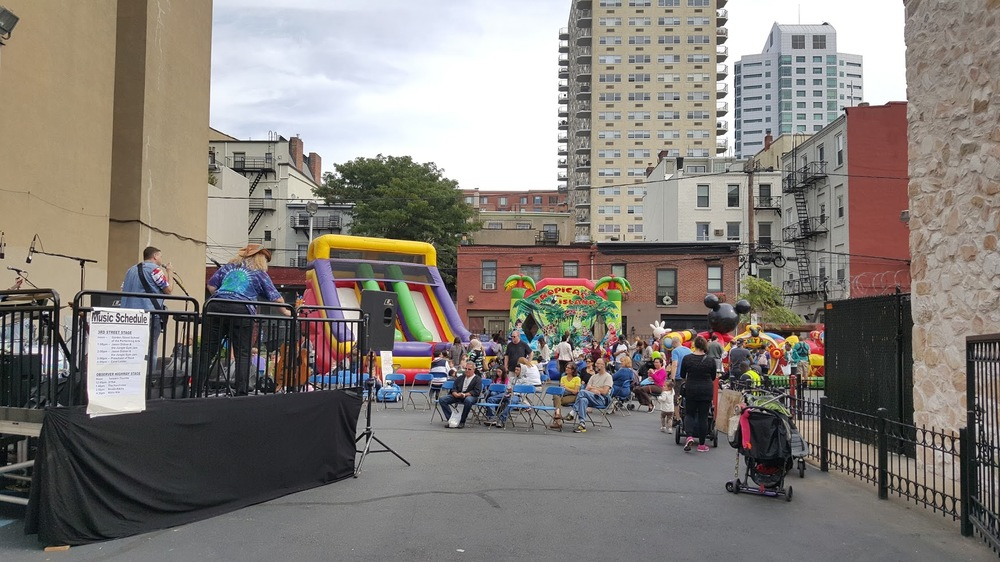 A bank's parking lot transformed into an exciting place for people.