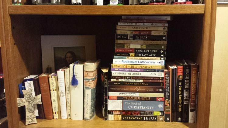 The bookshelf next to the desk I'm currently writing on, one of dozens in the house but this one focused on a particular interest of mine.