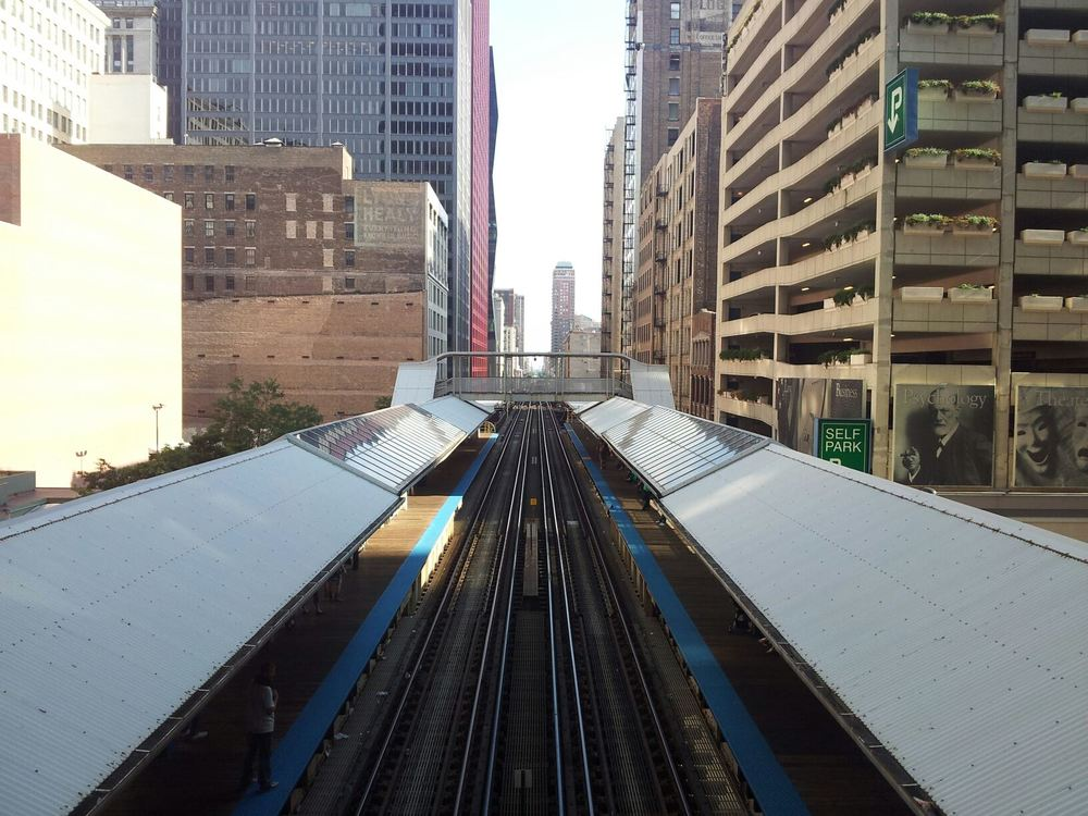 An elevated railroad in Chicago.