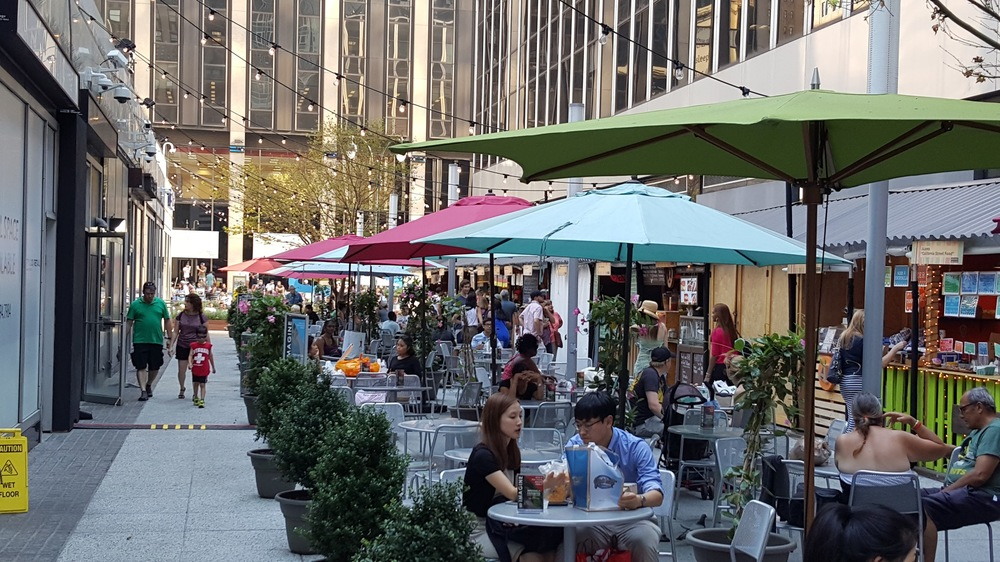 Outdoor seating in Manhattan. Suppose that if your café was full, you could rent out street space for extra seating?