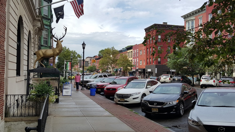 Cars parked along the street in Hoboken, NJ.