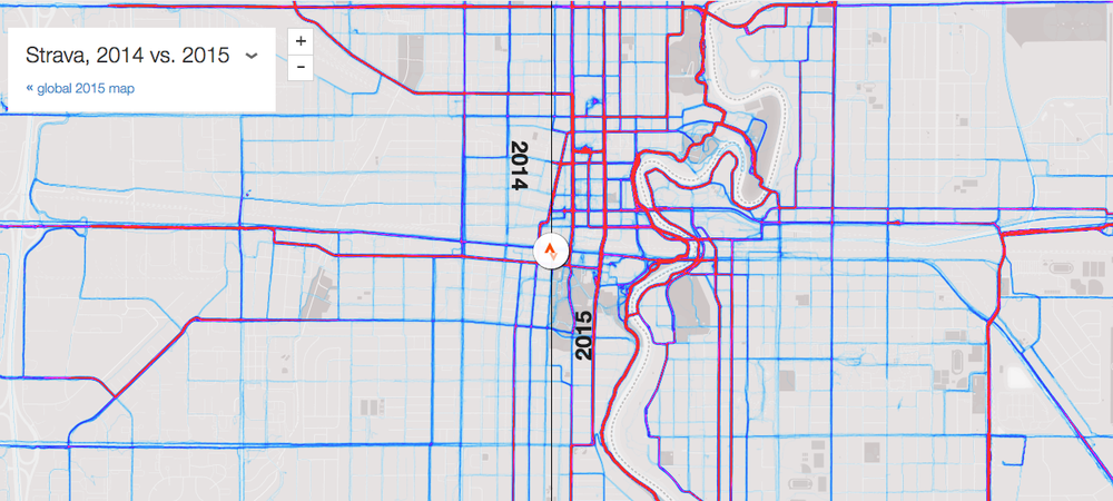 Strava heat map comparing 2014 and 2015 ride data for Fargo-Moorhead