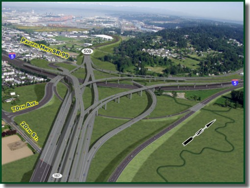 This is the planned billion-dollar upgrade to the I-5 and SR-167 interchange funded thanks to  Connecting Washington . ( WSDOT )