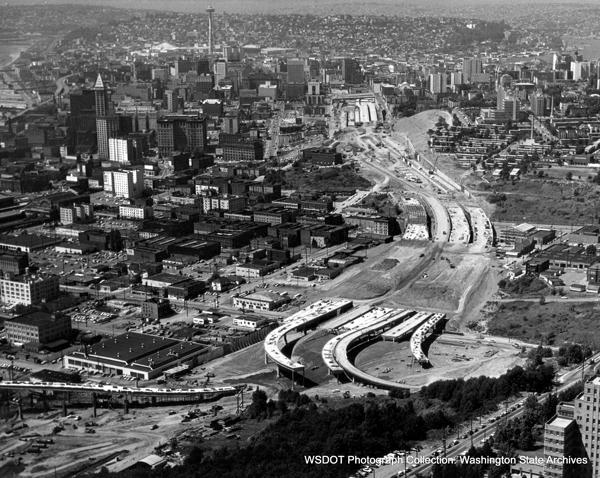 I-5's construction required leveling many city blocks. (WSDOT)