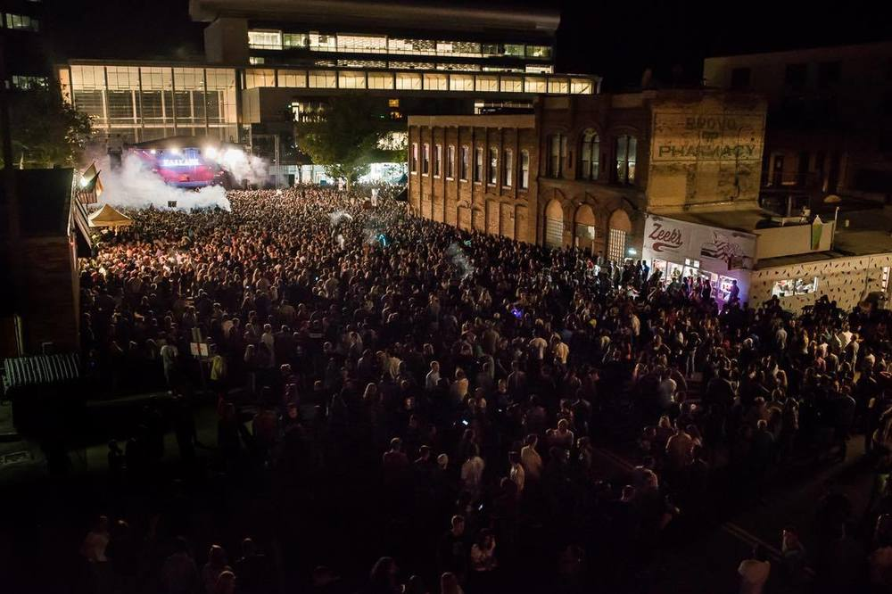 Streets are closed for a free concert featuring Kaskade in downtown Provo. Photo Credit: Trevor Christensen.