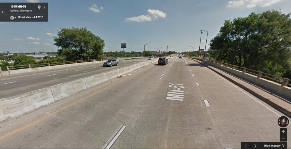 (Image source: Google. Because of a large rail yard, walking or biking south from my neighborhood all but requires using the sidewalk of this 1/2-mile elevated freeway section of Snelling Avenue.)