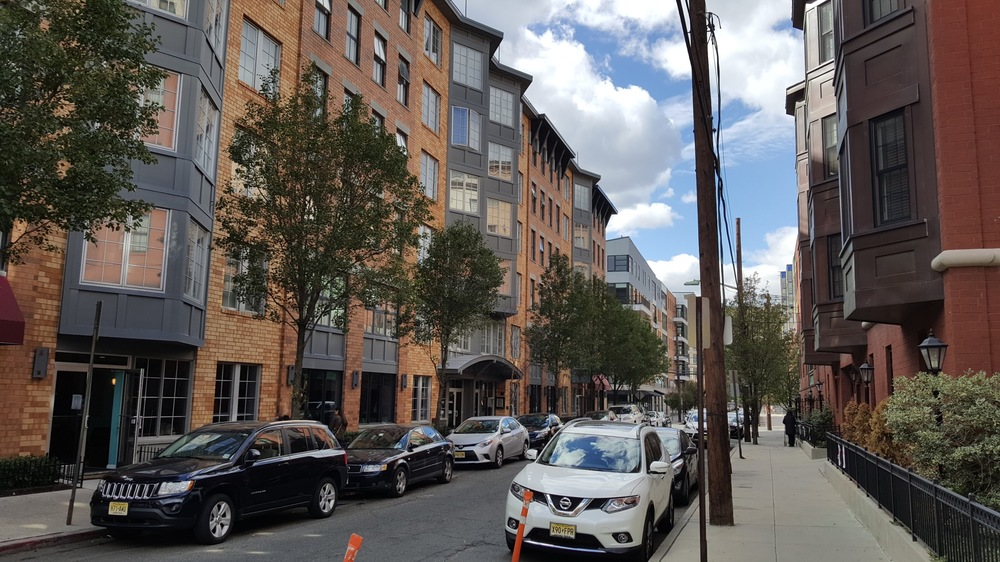 This street in Hoboken is easy to cross at any point because cars are only ever coming from one direction.