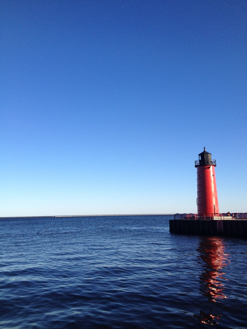 A lighthouse on Lake Michigan near downtown Milwaukee