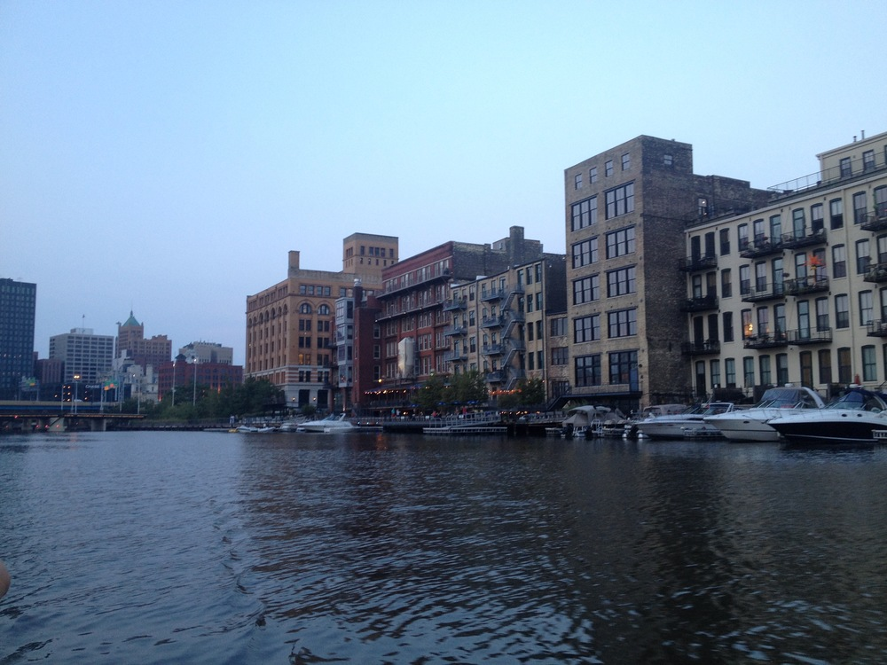 The Milwaukee River running through the Third Ward neighborhood of Milwaukee