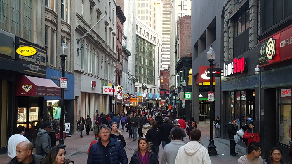 Downtown Crossing in Boston on the same Saturday.