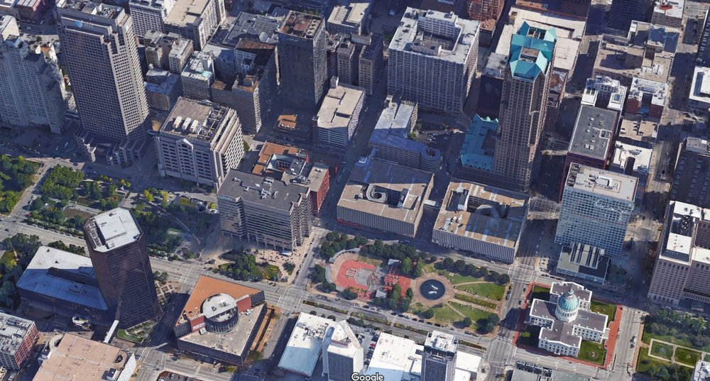An area of downtown St Louis that is covered in coarse-grained development. All Salt and Pepper but no substance.