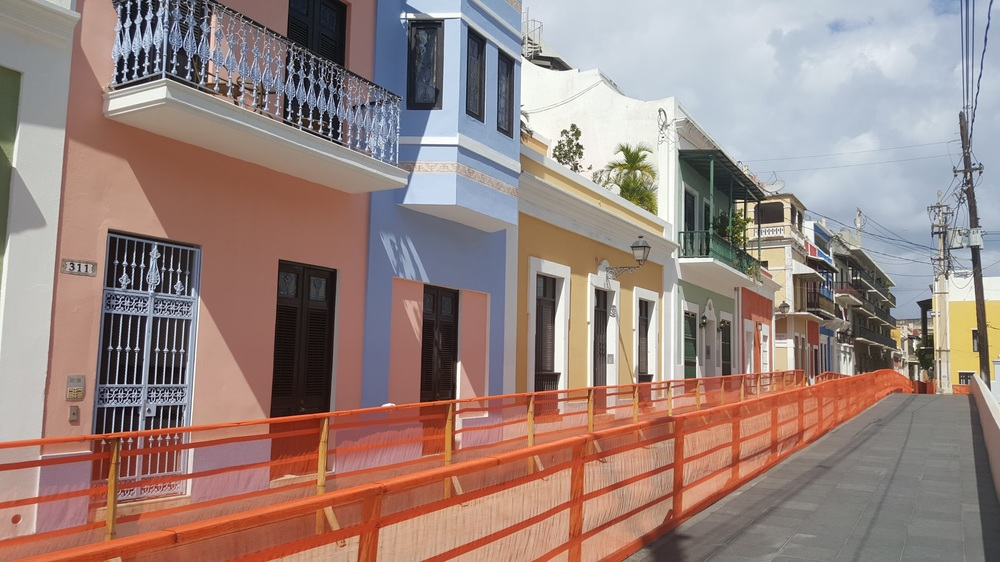 Homes in Old San Juan. I was amused by how they closed the travel lanes of this street for resurfacing, but kept the sidewalks opened for people. This is how you tell when you are in an area built for people.