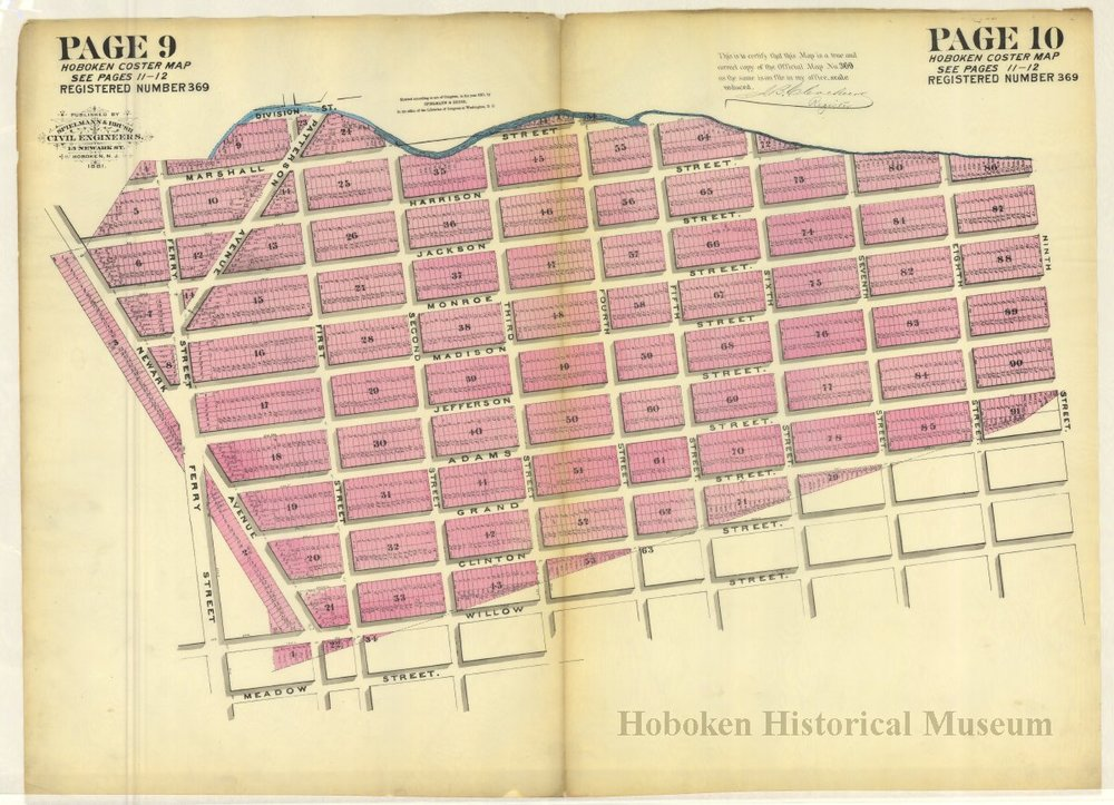 A 1886 Coaster Map showing the south western corner of Hoboken from the Hoboken Historical Museum.