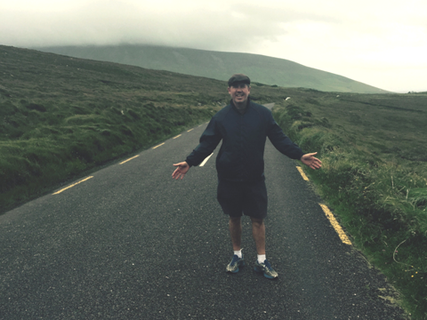 Vince, on a two-lane road in Ireland