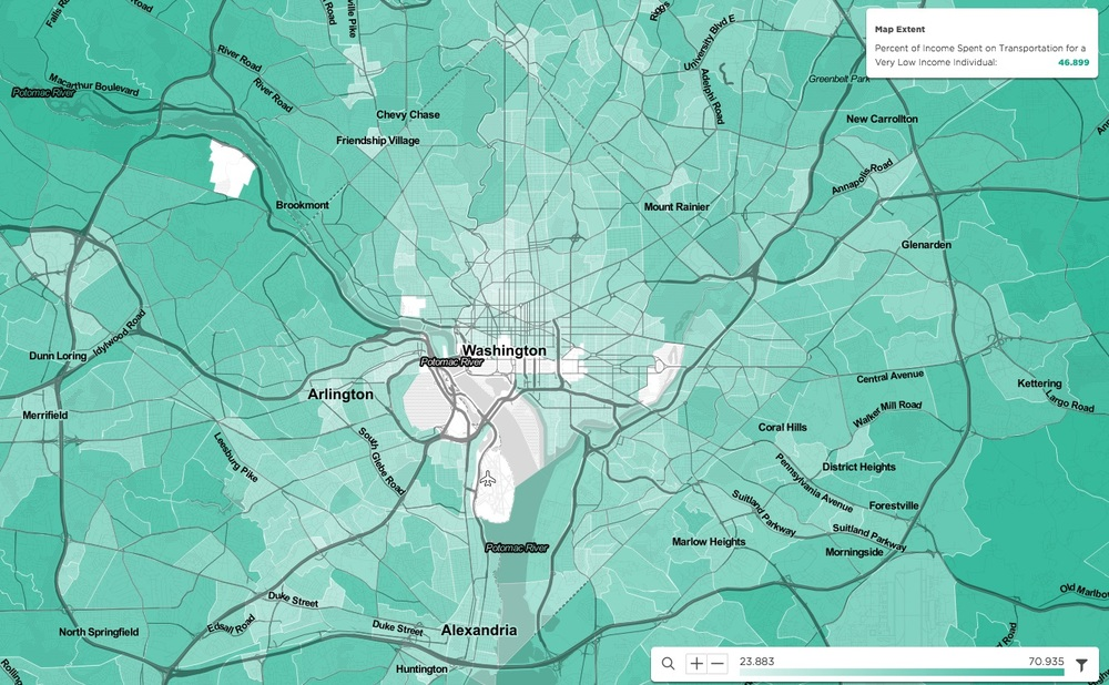 Percent of income spent on transportation for a very low income individual in Washington, D.C. metro. Source: Visualized in the mySidewalk platform, information from U.S. Department of Housing and Urban Development (HUD) and the U.S. Department of Transportation (DOT): Location Affordability Portal, Version 2: Location Affordability Index.