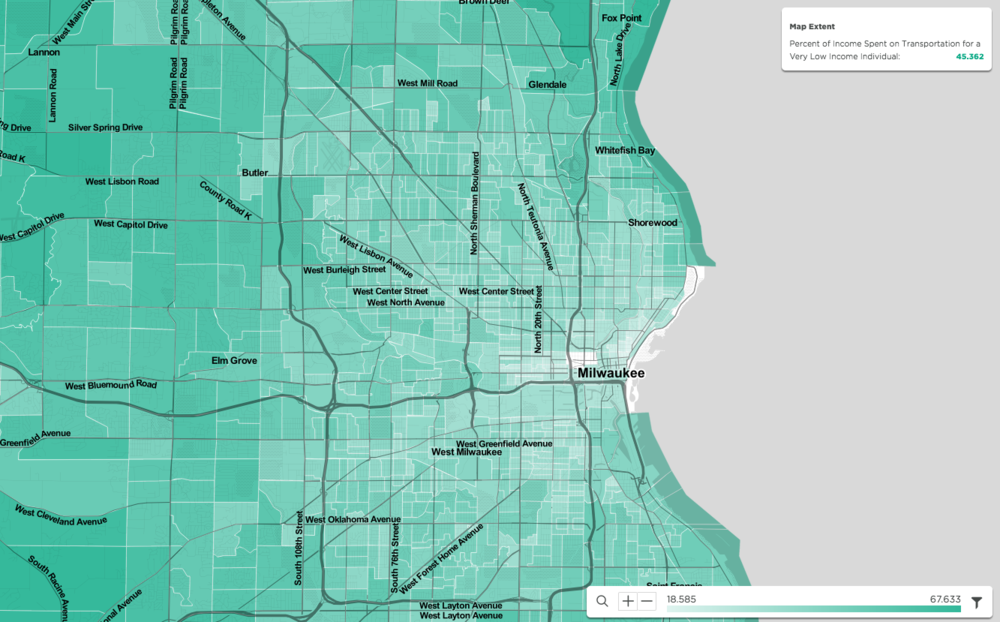 Percent of income spent on transportation for a very low income individual in Milwaukee, WI. Source: Visualized in the mySidewalk platform, information from U.S. Department of Housing and Urban Development (HUD) and the U.S. Department of Transportation (DOT): Location Affordability Portal, Version 2: Location Affordability Index.