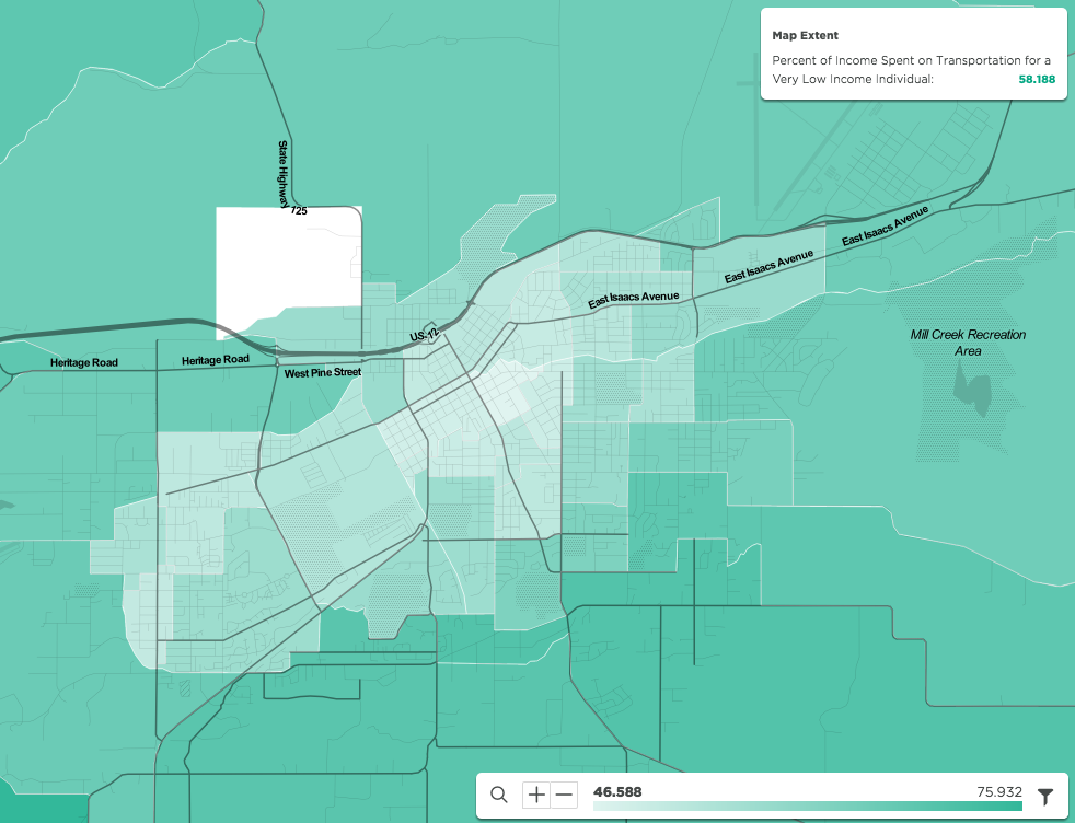 Percent of income spent on transportation for a very low income individual in Walla Walla, WA. Source: Visualized in the mySidewalk platform, information from U.S. Department of Housing and Urban Development (HUD) and the U.S. Department of Transportation (DOT): Location Affordability Portal, Version 2: Location Affordability Index.