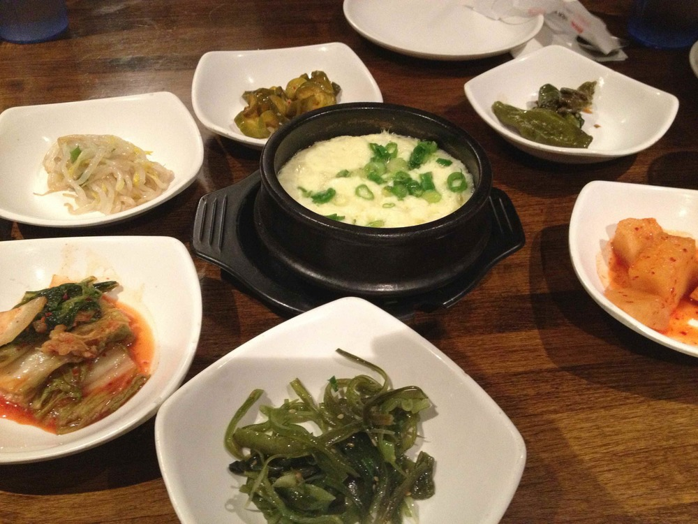 A delicious spread of Korean food from K-town in New York City