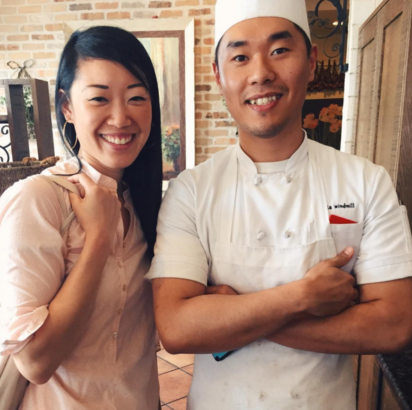 Ms. Loui and T.J. Shin, executive chef for White Windmill Restaurant. Mr. Shin immigrated to this country from South Korea.
