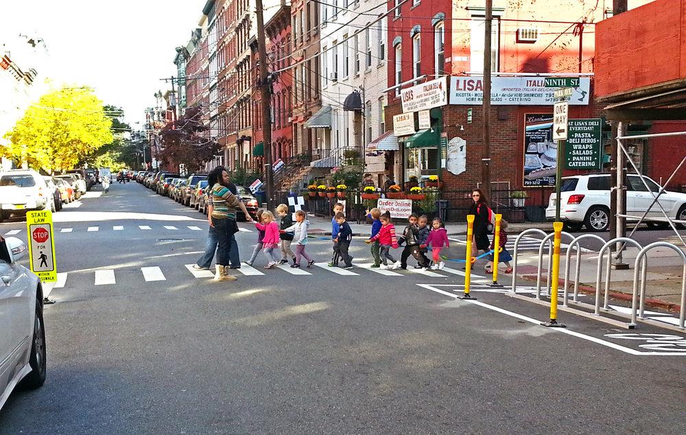 Philip Jonat's photo of children crossing the street in Hoboken for Hoboken's Strongest Town entry.