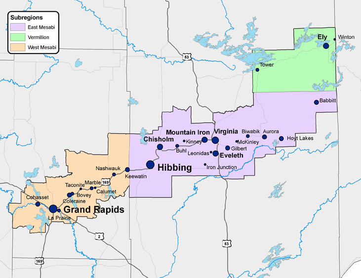 Map of the Iron Range from the Minnesota Alliance for Geographic Education