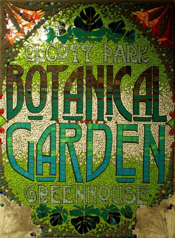 Olcott Park Greenhouse and Botanical Garden stained glass.